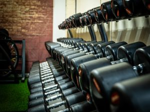 Rack of dumbells