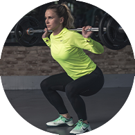 Woman Squating with weights